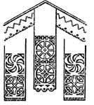 Солярные знаки на полотенцах, расположенные под изображением «хлябей небесных»
